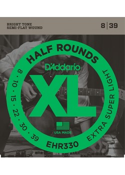 EHR330 Half Round струны для электрогитары, Extra-Super Light, 8-39, D'Addario