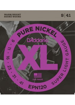 EPN120 XL PURE NICKEL Струны для электрогитары чистый никель Super Light 9-41 D`Addario